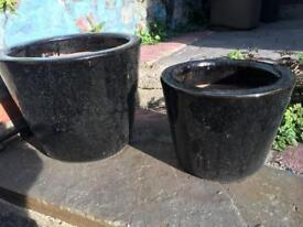 Two Black Patio Pots - one medium, one small