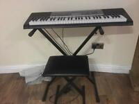 Casio keyboard and stand and chair