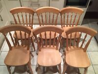 6 wooden dining table chairs