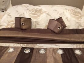 Heavy brown silk effect lined curtains vgc