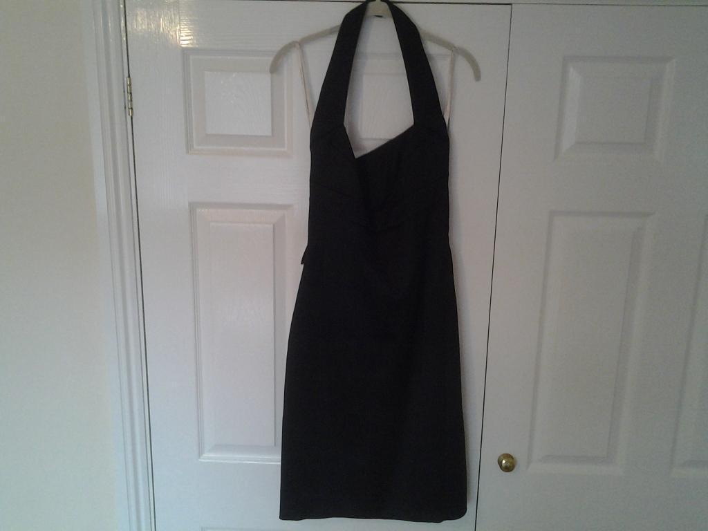 KAREN MILLEN DRESS beautiful black satin halter neck dress. size 14