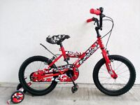 """(2550) 16"""" 10"""" FALCON BOYS GIRLS KIDS CHILD BIKE BICYCLE+ STABILISERS Age: 5-7 Height: 105-120cm RED"""