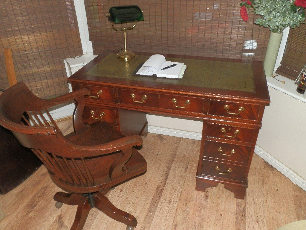 Antique captains chair - Antique Style Leather Top Desk With Matching Captain Chair