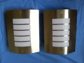 Two Contemporary Satin Stainless Steel Exterior Wall Lights, IP44 Rating