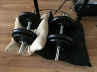 60kg weights dumbells and bench