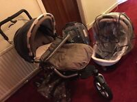 Jane pro travel system including carrycot, car seat, stroller and all rain covers