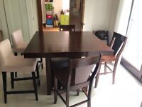 Dark Wood Bar Table with intergrated wine rack & chairs