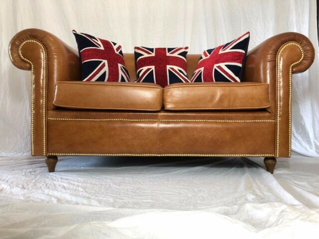 Sofas/chaises Fine Luxury Handmade Cigar Faux Leather Chesterfield Style 2 Seater Sofa Cognac