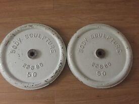 2 X 22.68KG / 50LB BODY SCULPTURE CAST IRON WEIGHT PLATES