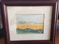 Two small, signed watercolours of local country scenes in West Lothian: by June A Sharp.