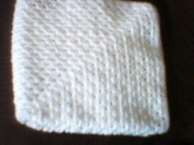 "white crocheted throw for pram/crib in soft wool from non smokers home 35"" x35"" square"