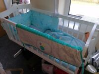White baby crib with mattress & covers