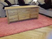 Solid oak 6 drawer coffee table & 1 drawer lamp table