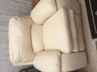 Cream leather electric fully recliner chair