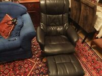 LOVELY LEATHER LOOK RECLINER/SWIVEL CHAIR+ STOOL