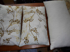 3 x Designer Cushions Dunelm & John Lewis Quilted Faux Silk/Embroidered