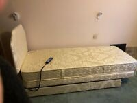Small single adjustable bed - with mattress