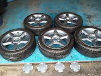 """FORD ESCORT COSWORTH STYLE ESCORT GTI MONDEO RS 16"""" ALLOYS WITH TYRES AND CENTRE CAPS"""