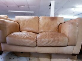 2 Seater Sandy Brown Leather Sofa