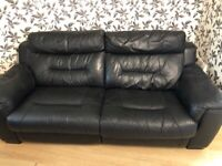 DFS 3 seater sofa electric recliner black leather