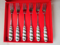 6 x Christmas Pastry Forks, Ceramic Handles by Martin Gulliver Designs