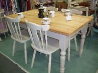 SOLID PINE TABLE AND FOUR CHAIRS SHABBY CHIC ANNIE SLOAN OLD OCHRE VGC