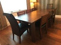 Extending Dining room Table and 6 chairs- Sonoma Dark- M &S