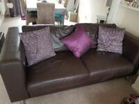 Large 2 seater leather sofa in chocolate brown