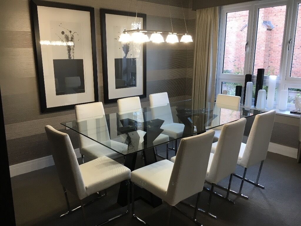 Show home dining room glass table chairs in fleet