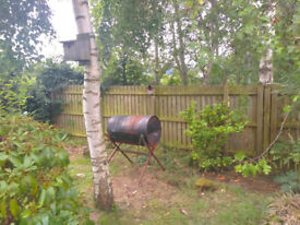Homemade rustic barrel barbecue