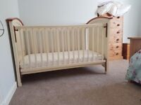 Cosatto Hogarth 3 in 1 cream and oak cotbed with chginging table.