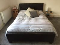 Next Black Faux Leather Double Bed and Sleepmasters Ortho Care Double Mattress