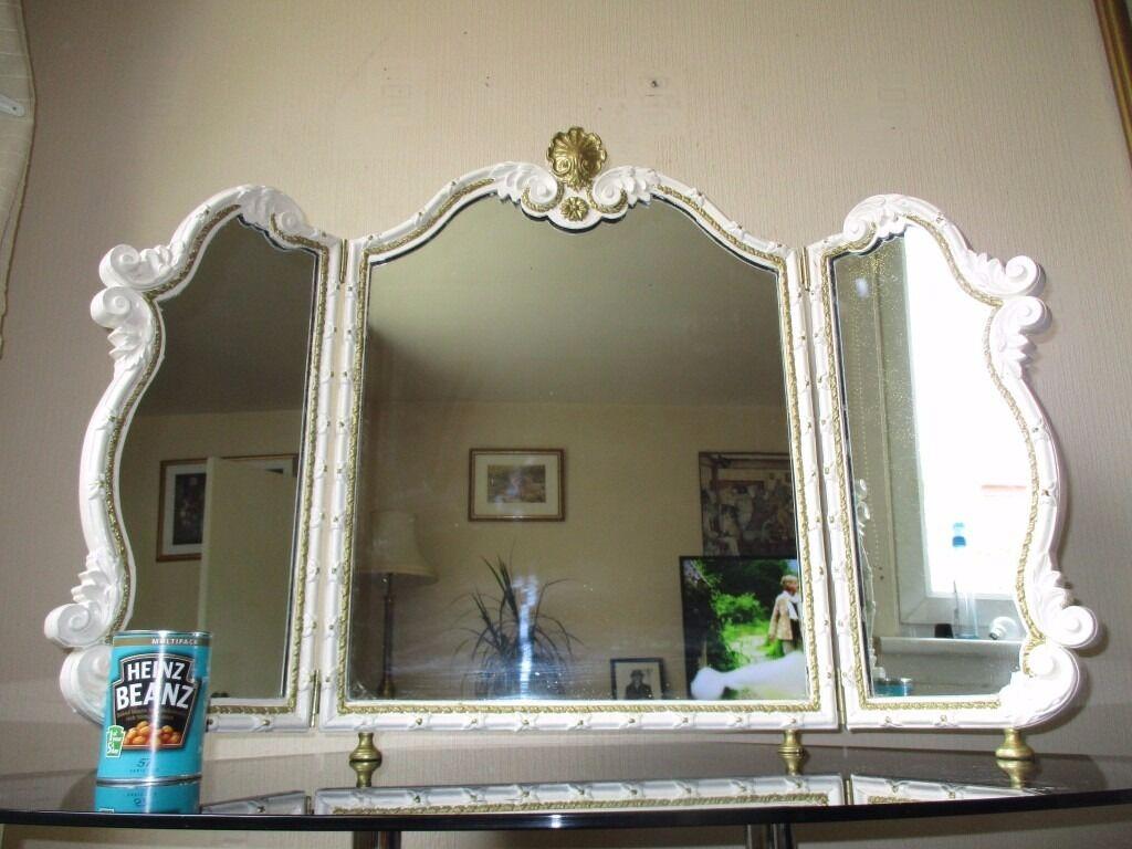 Antique Oak Framed 3 Way Dressing Table Mirror In
