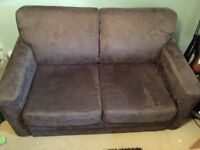 Chocolate brown faux suede 2 seater sofa bed