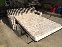 Double Sofa Bed - Blue / Cream Check