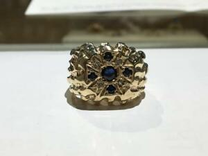 #1362 10K MENS DIAMOND SAPPHIRE RING SIZE 8 1/2. **JUST BACK FROM APPRAISAL AT $2850.00 SELLING FOR ONLY $895.00**