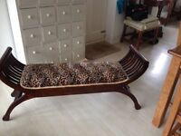 BENCH SEAT BENCHES LOVE SEAT CURVED TEAK END OF BED LEOPARD PRINT VELVET