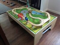 'Bigjigs' train table, track, 2 storage drawers and trains - suitable for Thomas toys