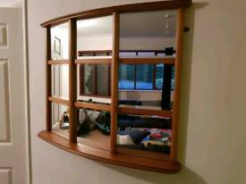 Large Retro Teak Vintage Mirror / Bay Window G Plan Style