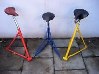 Bike Stools Up-Cycled Literally from Crashed and Burned Bikes!!! Unique Gift for the Bikey!!!!!!!!!