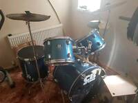 CB drum kit with hi hat and crash cymbals