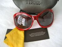 NEW Ferre Designer Sunglasses Ruby Red - with Original Case, Tags & Cloth