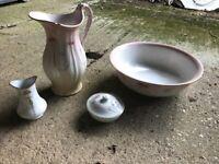 4-piece Losol Ware Keeling & Co antique washer set, including bowl and jug