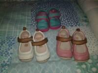 Clarks infant size 3F girls pre-walking shoe bundle
