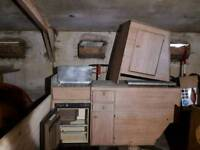 Camper unit , sink and fridge
