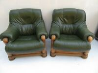 Green Leather and Teak Arm Chair Set