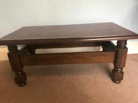 Vintage Solid Dark Oak Coffee Table H17.5in/45cm W39.5in/100cm D21.5in/54cm Excellent condition