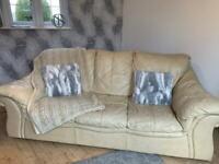 Leather Cream 3 Seat Sofa - FREE