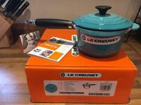 Le creuset saucepan with lid cast iron 16 cm teal