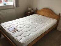 Small pine double bed with mattress